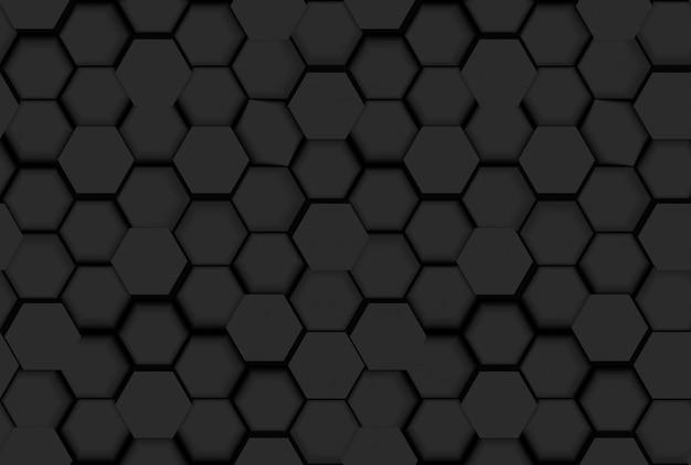 3 dの六角形と色合いの黒のシームレスな六角形パターンテクスチャ