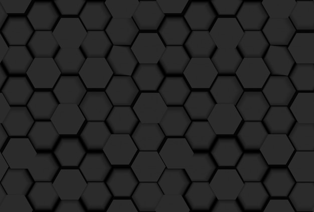 Black seamless hexagonal pattern texture with 3d hexagons and shades