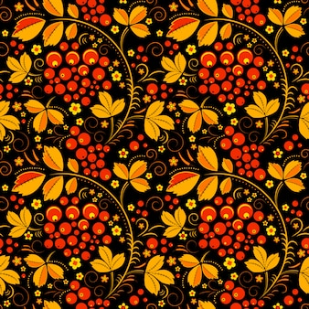 Black seamless pattern in floral folk tradition