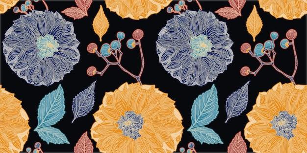 ダリアの黄色と青の花の黒いシームレスパターン