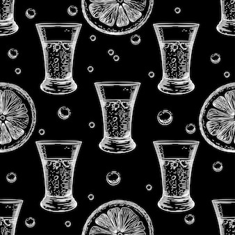 Black seamless pattern with the image of alcoholic beverages.