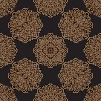 ヴィンテージの装飾品と黒のシームレスパターン。背景、プリント、アパレル、テキスタイルに適しています。ベクトルイラスト。