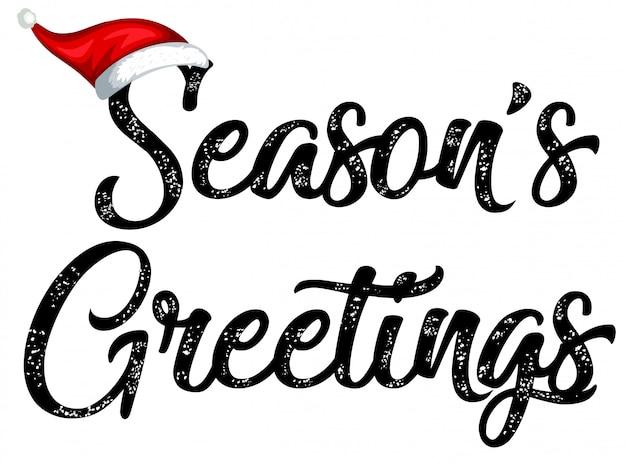 Black seasons greetings typography