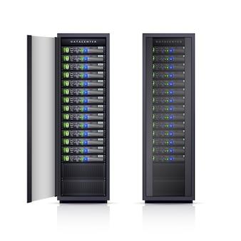 Два black server racks реалистичная иллюстрация
