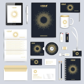 Black set of corporate identity template. modern business stationery. branding design with round golden form connected lines and dots .