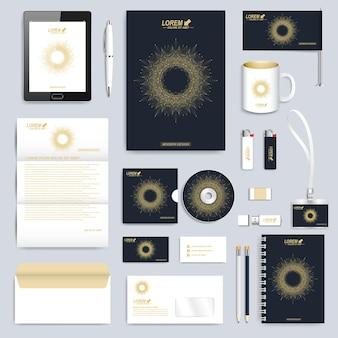 コーポレートアイデンティティテンプレートの黒のセット。現代のビジネスステーショナリー。丸い金色の形で結ばれた線と点のブランディングデザイン。