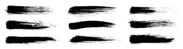 黒のセットペイント、インクブラシ、ブラシストローク