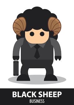 Black sheep business cartoon.
