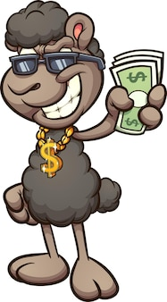 Черная овца в мультяшном кулоне с золотым кулоном со знаком доллара и бумажными купюрами