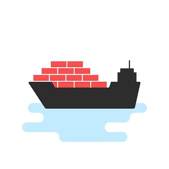 Значок черный корабль с грузом. концепция эмблемы морского порта, рейс, судостроение, поездка, якорь, морской, волна. плоский стиль тенденции современный логотип шаблон дизайна векторные иллюстрации на белом фоне