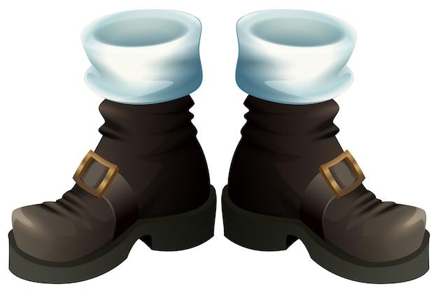 ゴールドのバックルが付いた黒い靴。サンタクロースはクリスマスアクセサリーを起動します。白い漫画イラストで隔離
