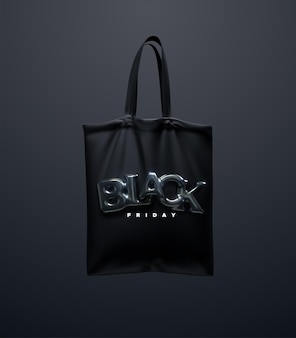 Black shopping bag with black friday sign