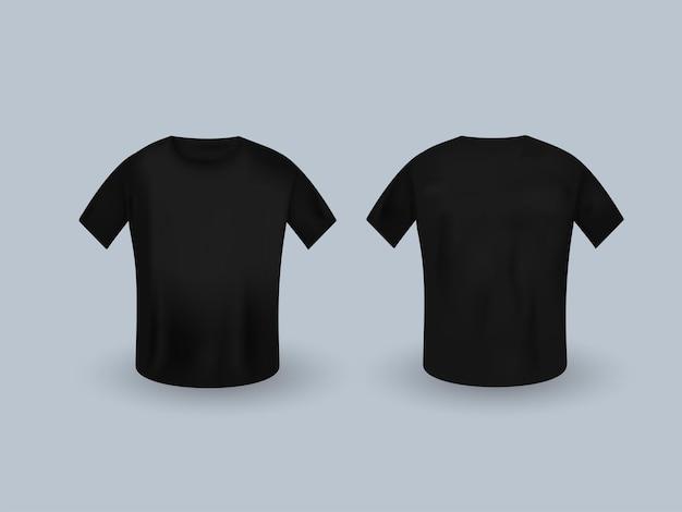 Черная футболка с коротким рукавом реалистичные макет на сером фоне.