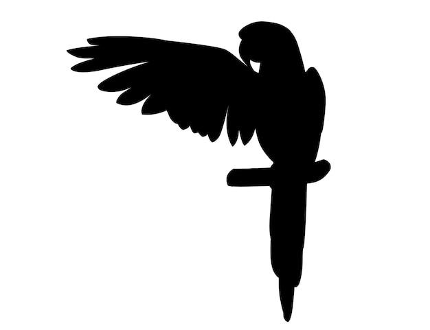 Черный силуэт взрослый попугай красно-зеленого ара ара сидит на ветке и машет крыльями (ара chloropterus) мультфильм птица дизайн плоские векторные иллюстрации, изолированные на белом фоне.