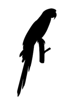 Black silhouette adult parrot of red-and-green macaw ara sitting on a branch (ara chloropterus) cartoon bird design flat vector illustration isolated on white background.