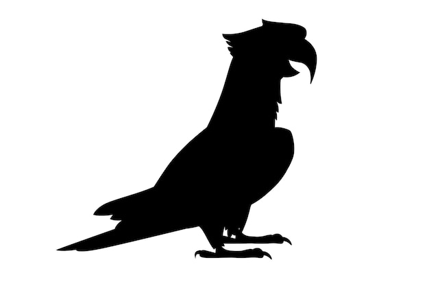 Black silhouette adult parrot of red-and-green macaw ara standing on two legs(ara chloropterus) cartoon bird design flat vector illustration isolated on white background.