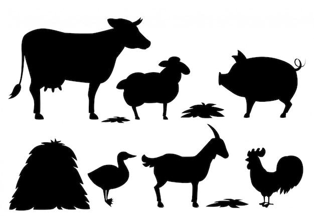 黒いシルエット。干し草のスタックで設定された動物農場。家畜コレクション。漫画の動物。白い背景の上の図