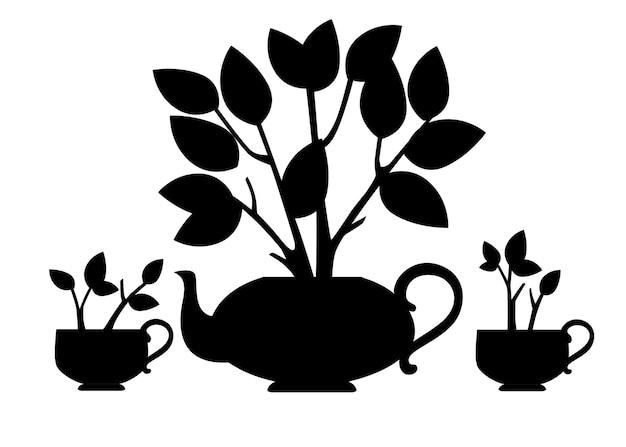 검은 실루엣 세라믹 찻주전자와 흰색 배경에 평평한 벡터 삽화에서 자라는 차 덤불이 있는 두 컵