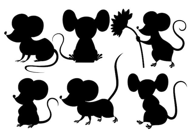 黒のシルエット。かわいい漫画のマウスセット。面白い小さな灰色のマウスコレクション。感情の小さな動物。漫画の動物のキャラクターデザイン。白い背景で隔離のフラットイラスト。