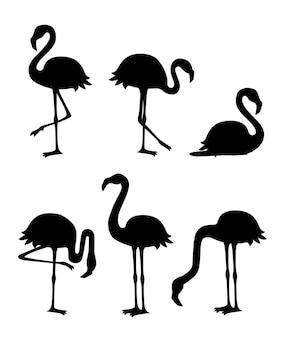 검은 실루엣. 귀여운 만화 복숭아 핑크 플라밍고 세트. 재미있는 플라밍고 컬렉션. 만화 동물 캐릭터 디자인. 평면 그림 흰색 배경에 고립입니다.