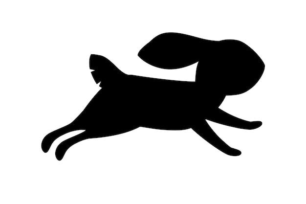 Черный силуэт милый серый кролик, бегущий вперед мультфильм животных дизайн плоские векторные иллюстрации, изолированные на белом фоне.