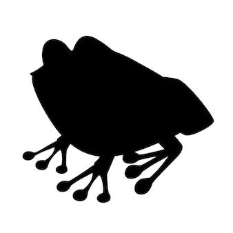 Черный силуэт милая улыбающаяся лягушка, сидящая на земле, мультяшный дизайн животных, плоская векторная иллюстрация