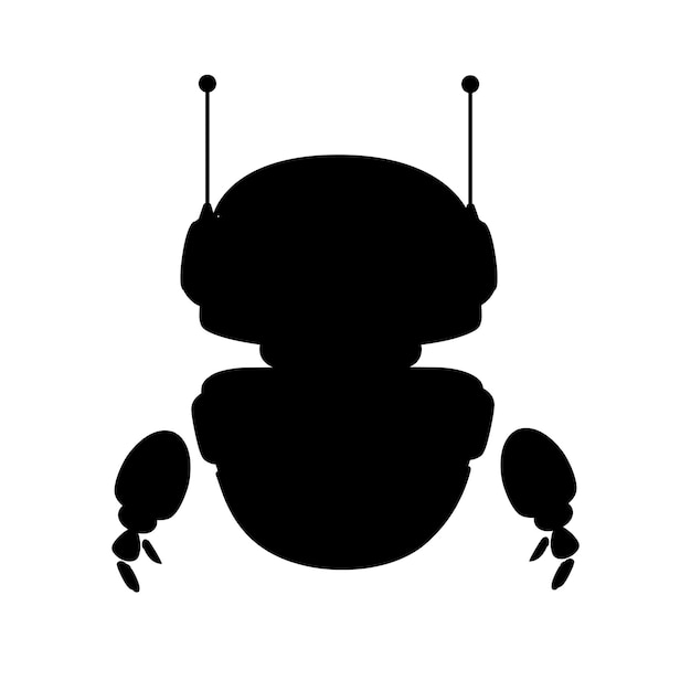 Black silhouette cute white modern levitating robot with happy face flat vector illustration