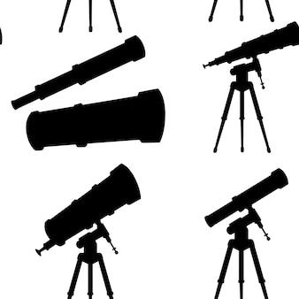 Черный силуэт eamless узор телескопов с подставками и без плоских векторных иллюстраций на белом фоне.