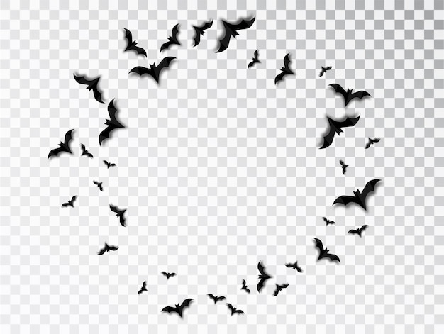 Black silhouette of flock of bats. halloween traditional design element isolated on transparent background. round frame