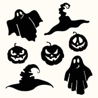 黒のシルエットの幽霊、彫刻の顔のカボチャのランタンと魔女の帽子のステンシル。レーザー切断テンプレート