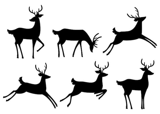 黒いシルエットアイコンのコレクション。茶色の鹿。有蹄類の反すう動物。漫画の動物。枝角を持つかわいい鹿。白い背景の上の図