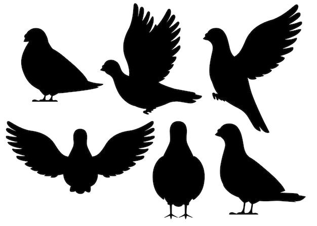 黒いシルエット。鳩鳥が飛んで座っているのアイコンを設定します。キャラクター 。黒い鳥のアイコン。かわいい鳩テンプレート。白い背景のイラスト。