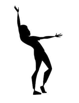 흰색 배경에 고립 된 제기 손 만화 캐릭터 디자인 평면 벡터 일러스트와 함께 스포츠 양복을 입고 검은 실루엣 남자.