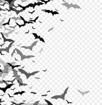 透明な背景に分離されたコウモリの黒いシルエット。ハロウィーンの伝統的なデザイン要素。ベクターイラストeps10