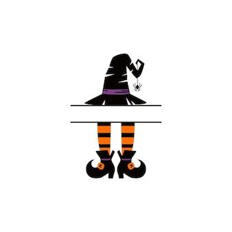 Черный силуэт шляпы ведьмы хэллоуина. векторная иллюстрация