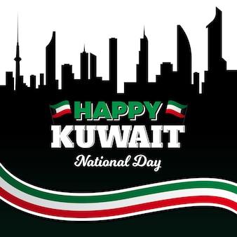 Черный силуэт города кувейт