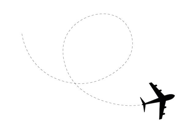 白で隔離される飛行機の黒いシルエット