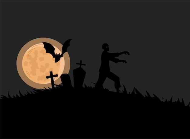 Черный силуэт зомби, идущего на кладбище