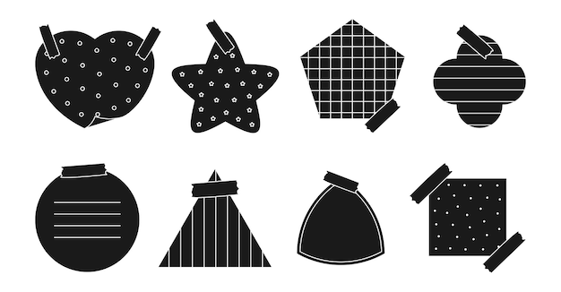 Black silhouette paper sticker set memo sticker with different linear cross dotted and grid patterns various shapes notepad of reminder messages or organizer isolated on white vector illustration