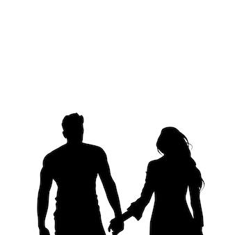 Black silhouette romantic couple holding hands