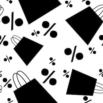 백분율 기호가 있는 흰색 배경에 판매 태그 % 평면 벡터 일러스트가 있는 쇼핑 종이 가방의 검은 실루엣 원활한 패턴입니다.