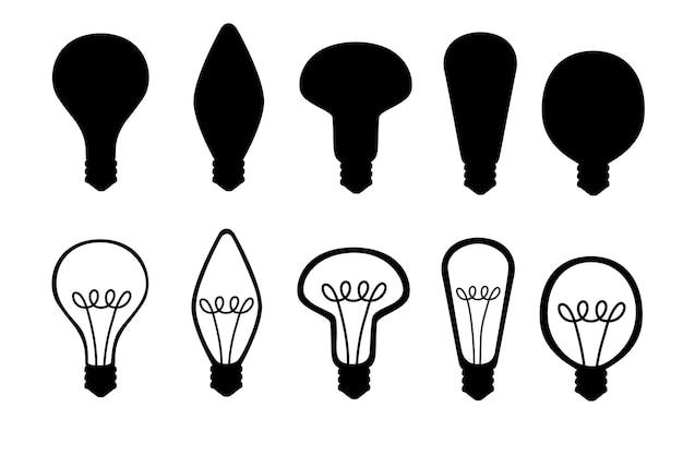 Black silhouette set of flat cartoon incandescent lamps yellow retro light bulbs vector illustration