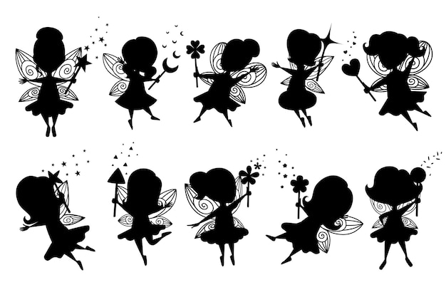 Black silhouette set of flying butterfly fairy with different shape magic wand and wearing clothes cartoon character design flat vector illustration.