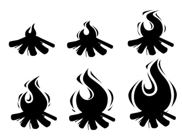 Черный силуэт набор спрайтов костра, сжигающих деревянные бревна и камни для кемпинга
