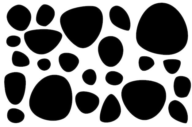 滑らかな石や小石の白い背景で隔離のフラットベクトルイラストの黒いシルエットセット