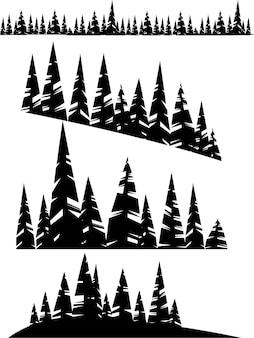 冬の常緑針葉樹林の木のイラストの黒いシルエットセット。