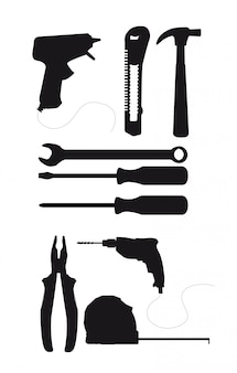 Black silhouette tools isolated over white background vector