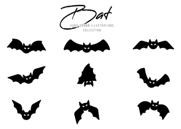 Black silhouettes of bats for halloween set on white background