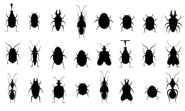 검은 실루엣. 버그 모음. 곤충 실루엣을 설정합니다. 흰색 배경에 그림입니다. 웹 사이트 페이지 및 모바일 앱