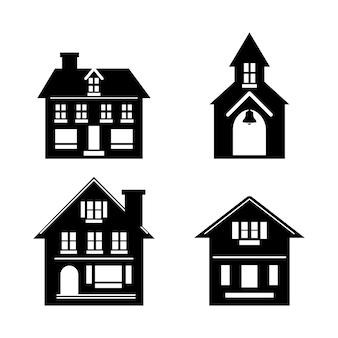 Black silhouettes of houses cottages and church